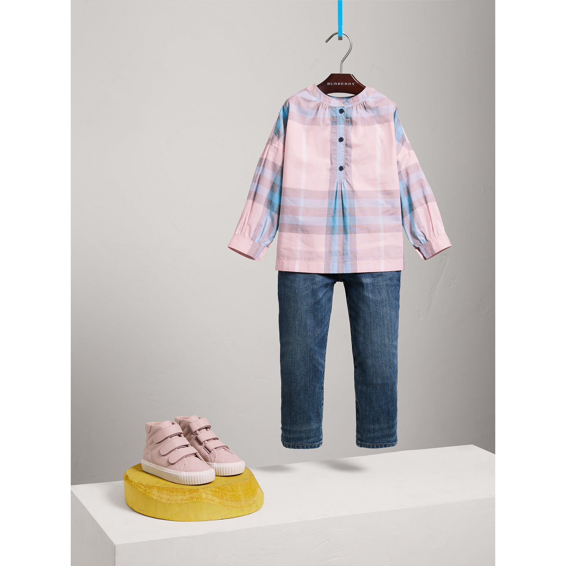Gathered Check Cotton Shirt in Ice Pink - Girl | Burberry - gallery image 2