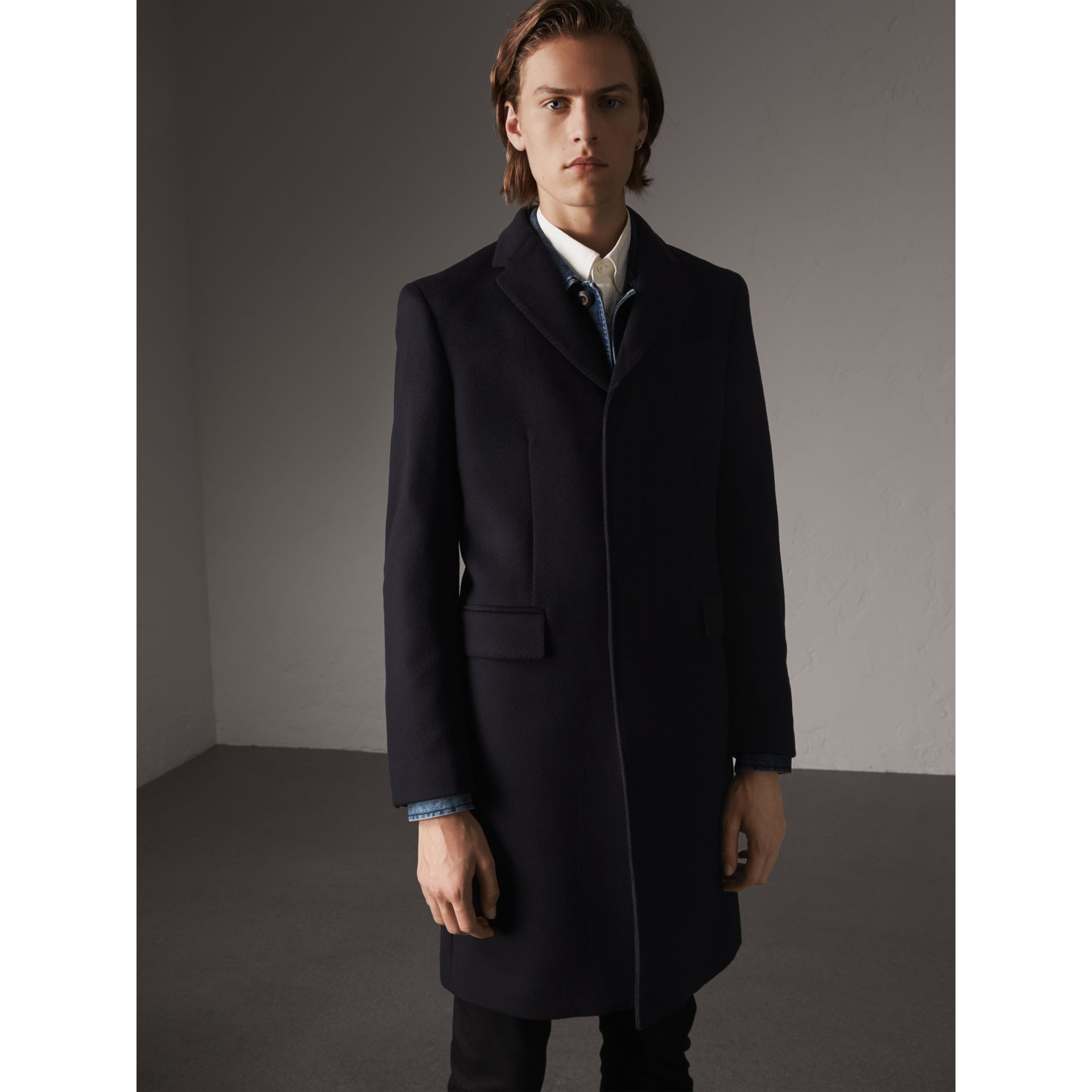 Wool Cashmere Tailored Coat in Navy - Men | Burberry United States - gallery image 1