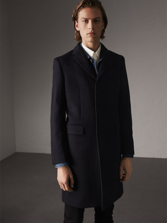 Wool Cashmere Tailored Coat in Navy
