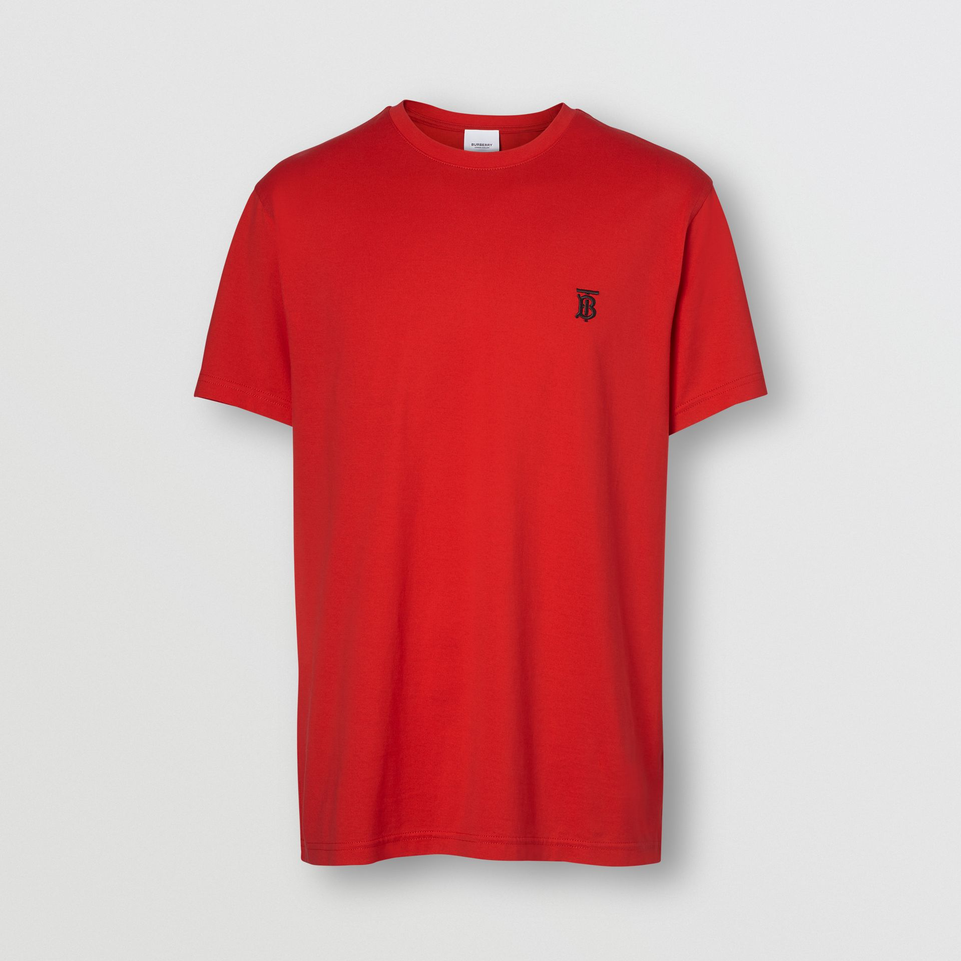 Monogram Motif Cotton T-shirt in Bright Red - Men | Burberry United Kingdom - gallery image 3