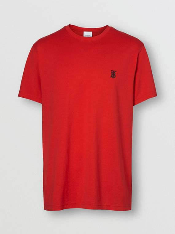 Monogram Motif Cotton T-shirt in Bright Red