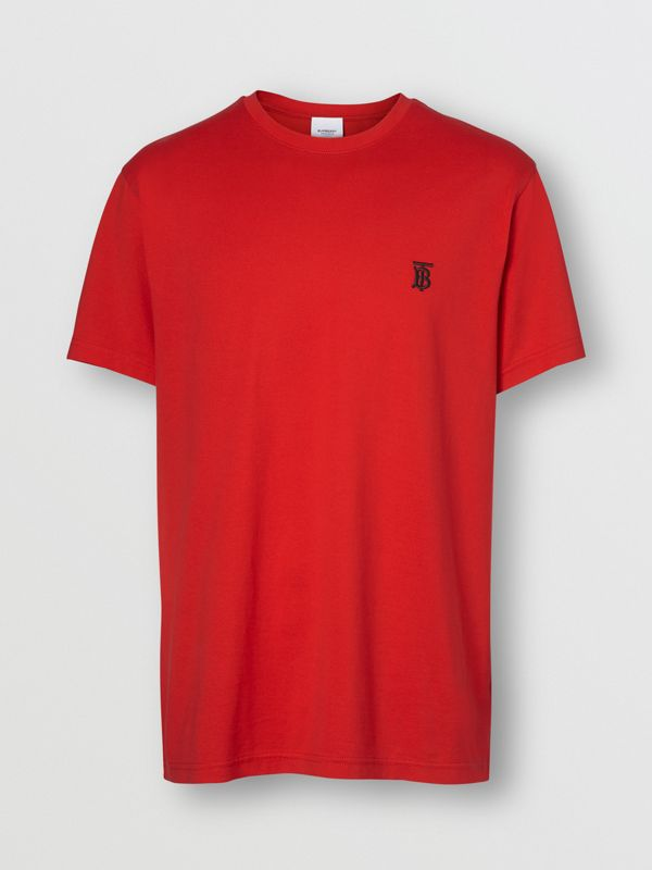 Monogram Motif Cotton T-shirt in Bright Red - Men | Burberry United Kingdom - cell image 3