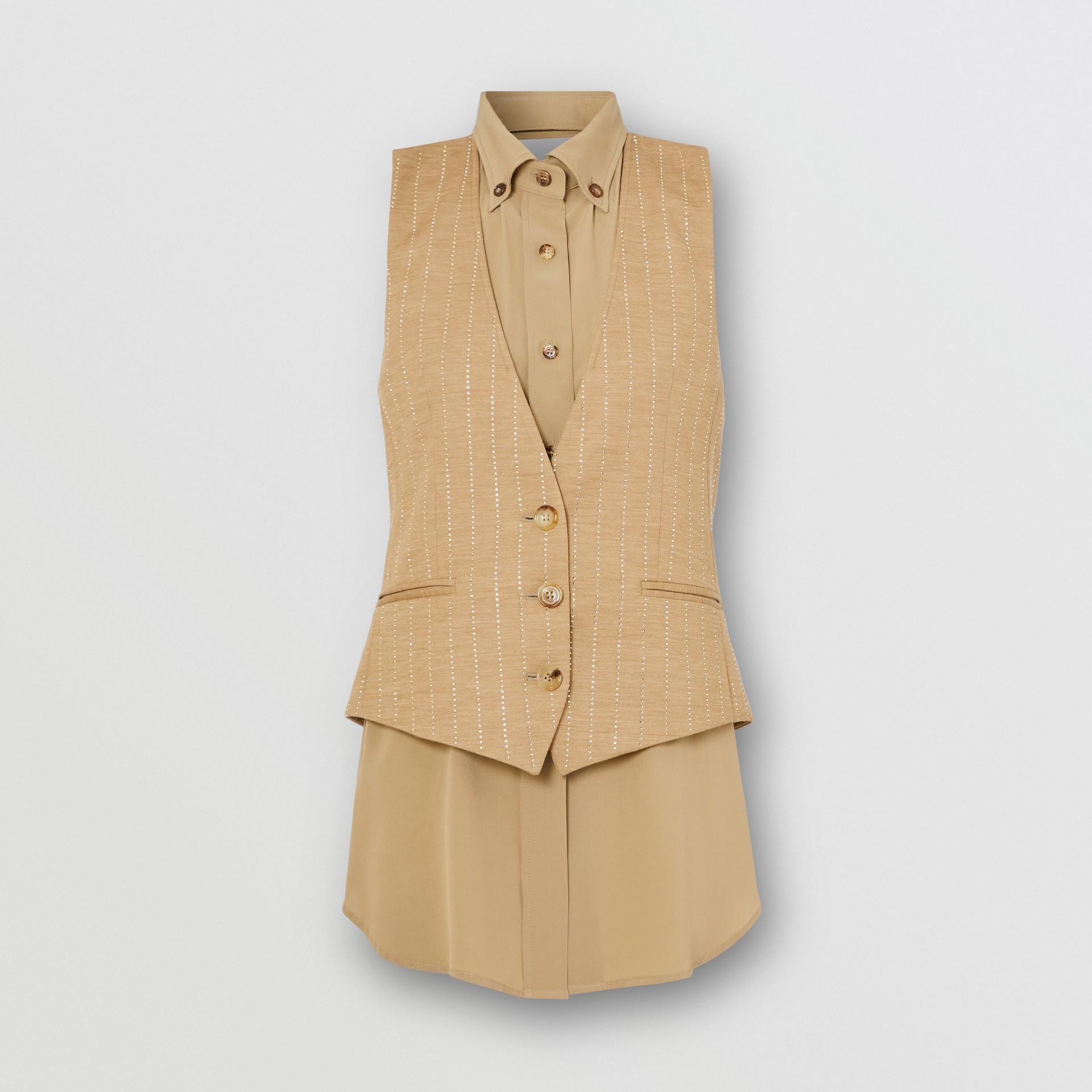 Shirt Detail Crystal Pinstriped Wool Blend Waistcoat in Pecan Melange - Women | Burberry - gallery image 3