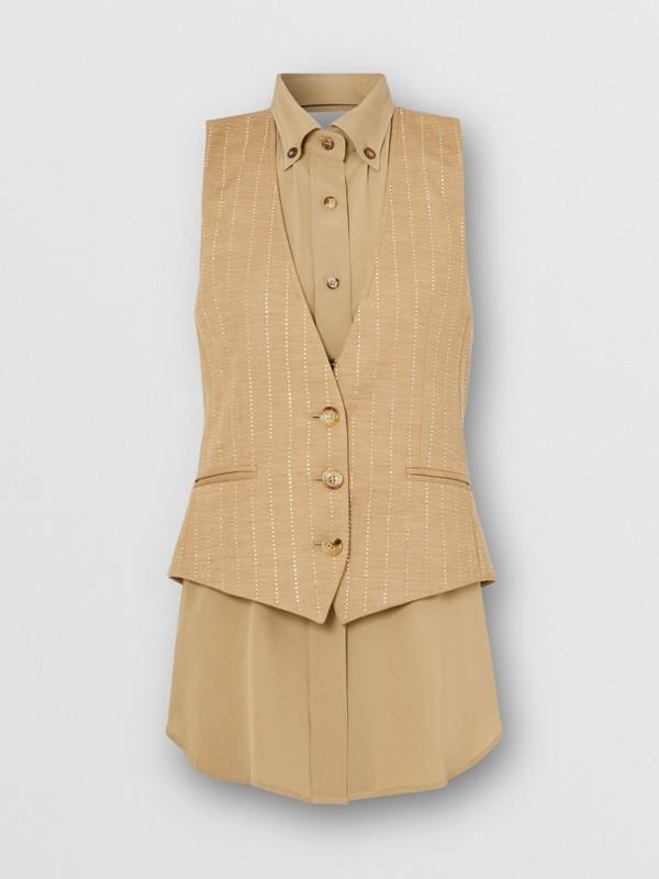 Shirt Detail Crystal Pinstriped Wool Blend Waistcoat in Pecan Melange - Women | Burberry - cell image 3