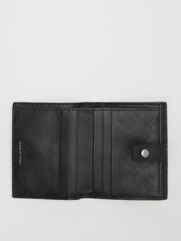 Small Perforated Logo Leather Wallet in Black - Women | Burberry Singapore - cell image 2