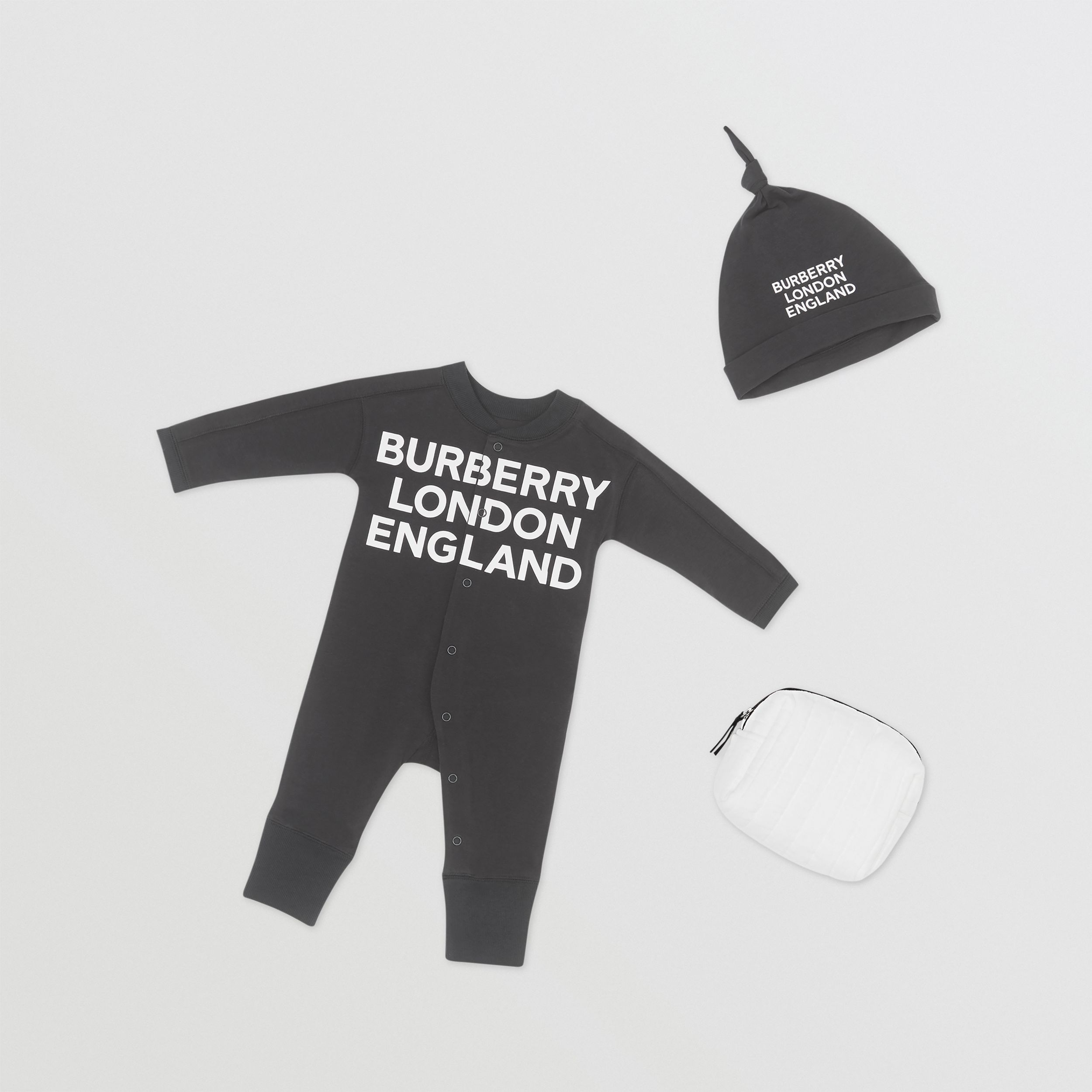 Logo Print Organic Cotton Two-piece Baby Gift Set in Black - Children | Burberry - 1