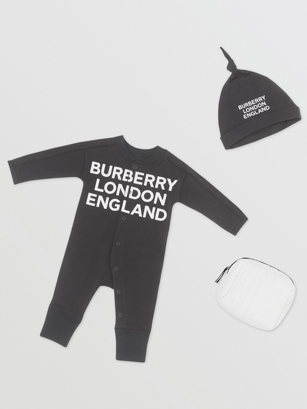Logo Print Cotton Two-piece Baby Gift Set in Black