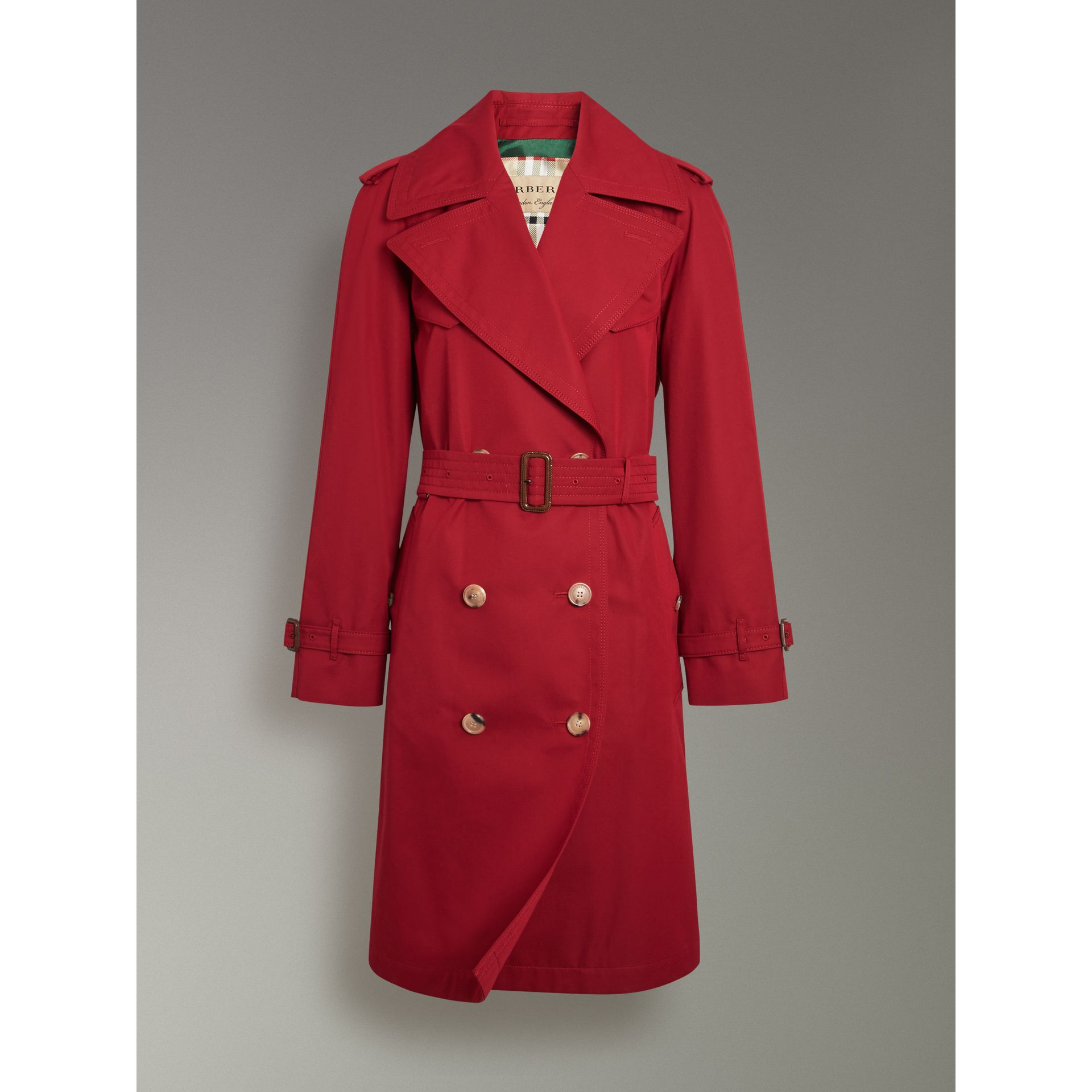 Oversized Lapel Cotton Gabardine Trench Coat in Parade Red - Women | Burberry - gallery image 3