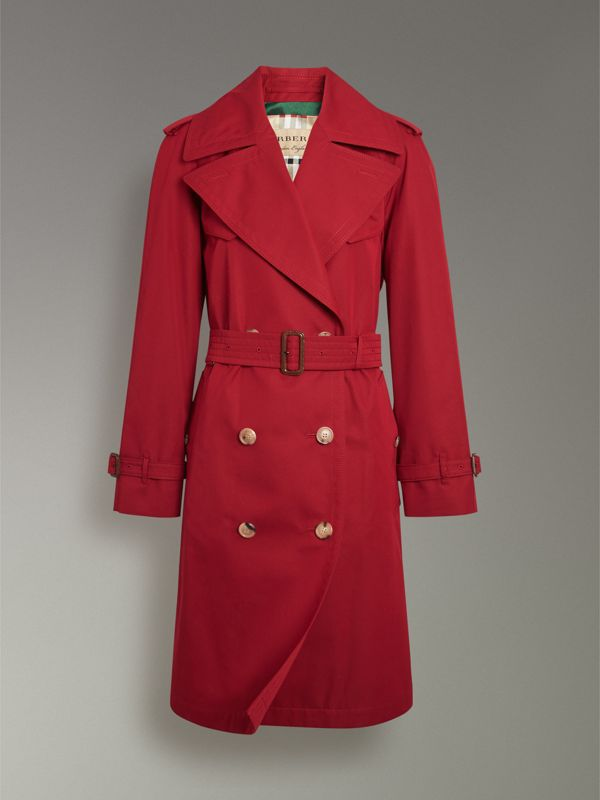 Scarf-print-lined Tropical Gabardine Trench Coat in Parade Red - Women | Burberry Canada - cell image 3