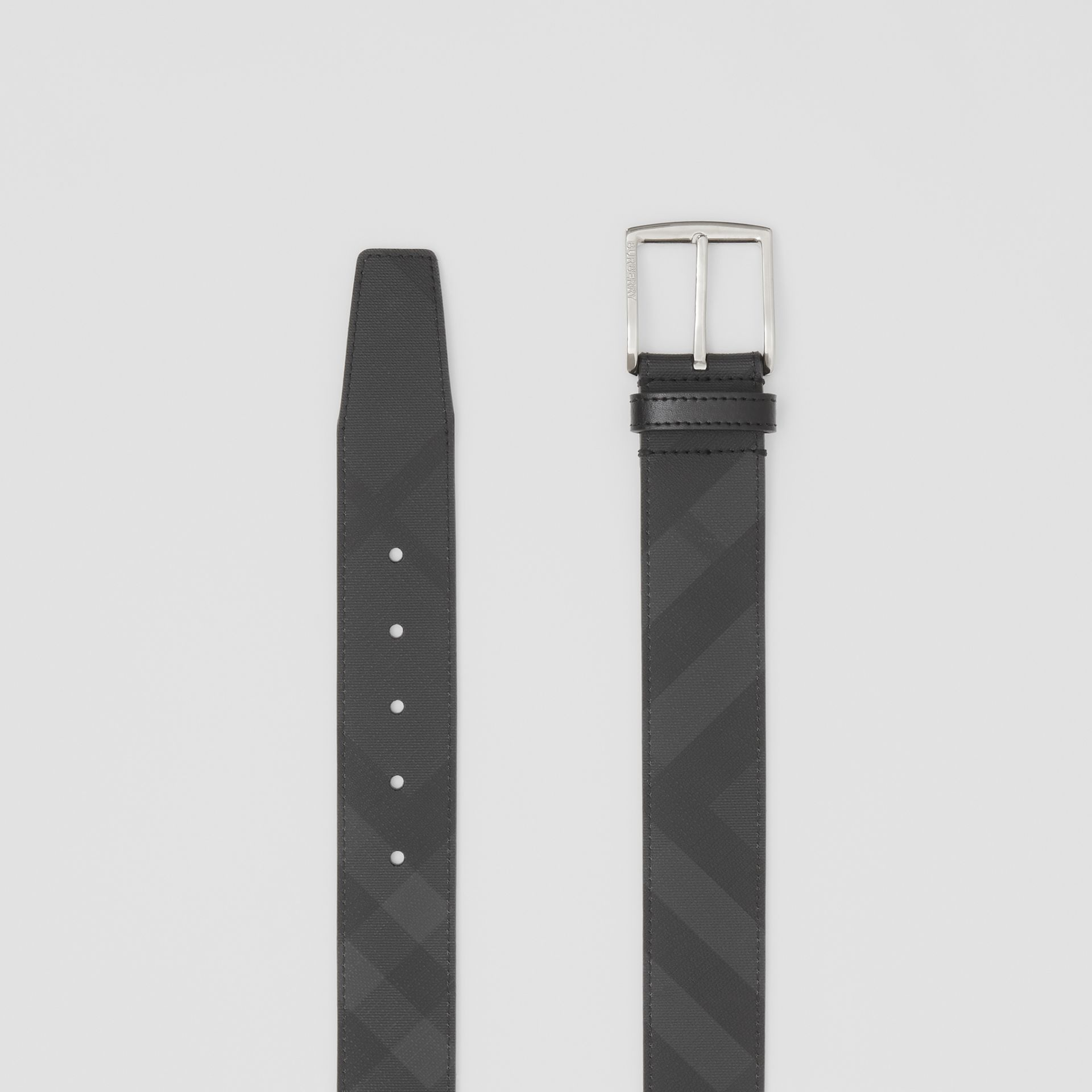 London Check and Leather Belt in Dark Charcoal/black - Men | Burberry United Kingdom - gallery image 5