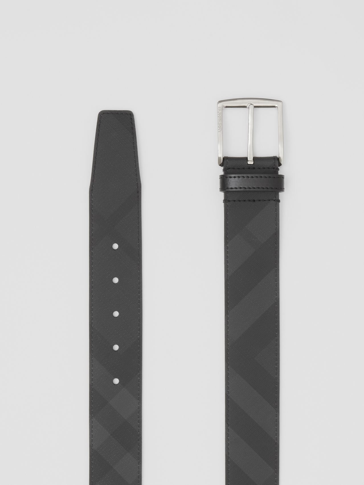 London Check and Leather Belt in Dark Charcoal/black