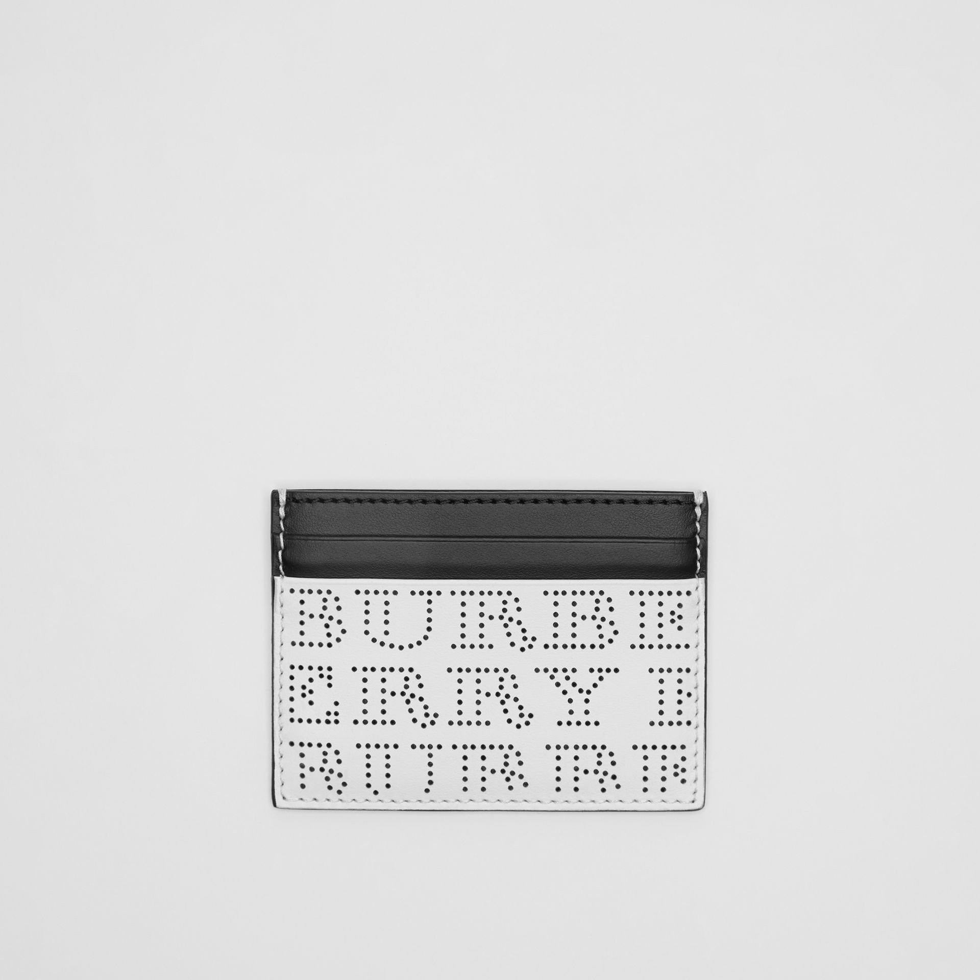 Perforated Logo Leather Card Case in Optic White | Burberry - gallery image 0