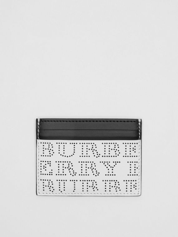 Perforated Logo Leather Card Case in Optic White