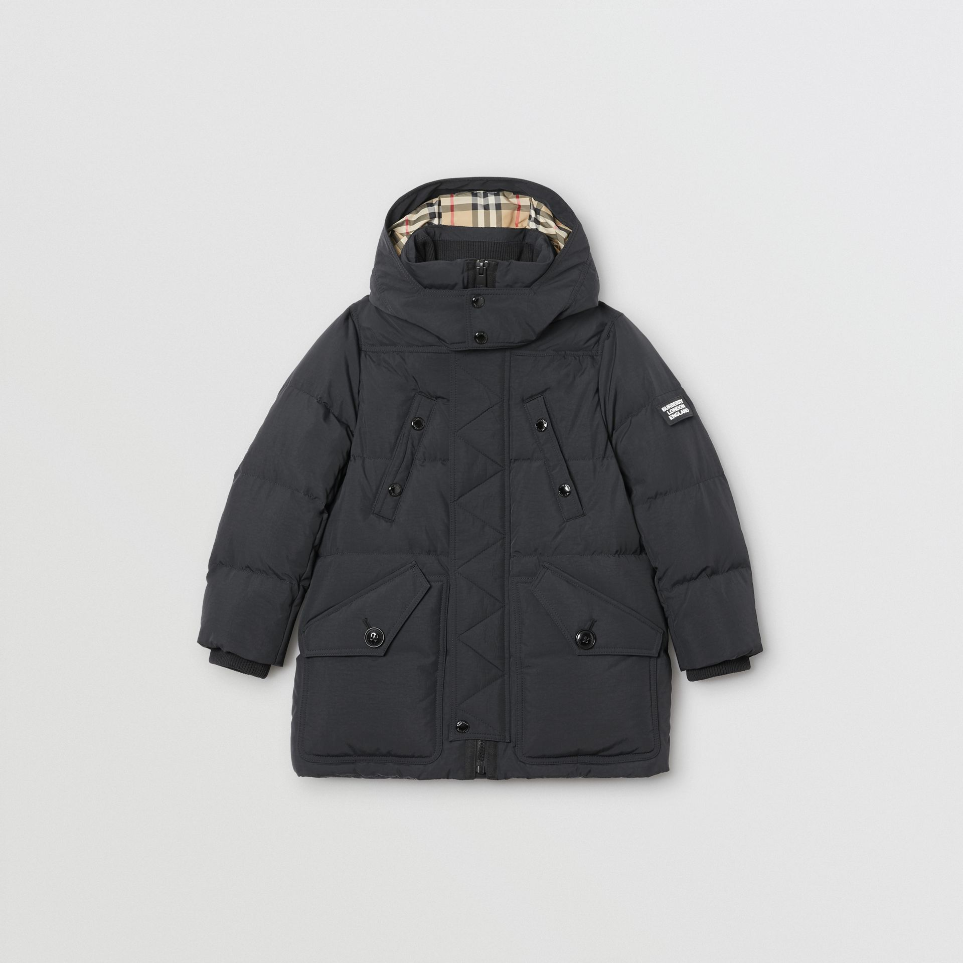 Detachable Hood Down-filled Puffer Coat in Black | Burberry Singapore - gallery image 0