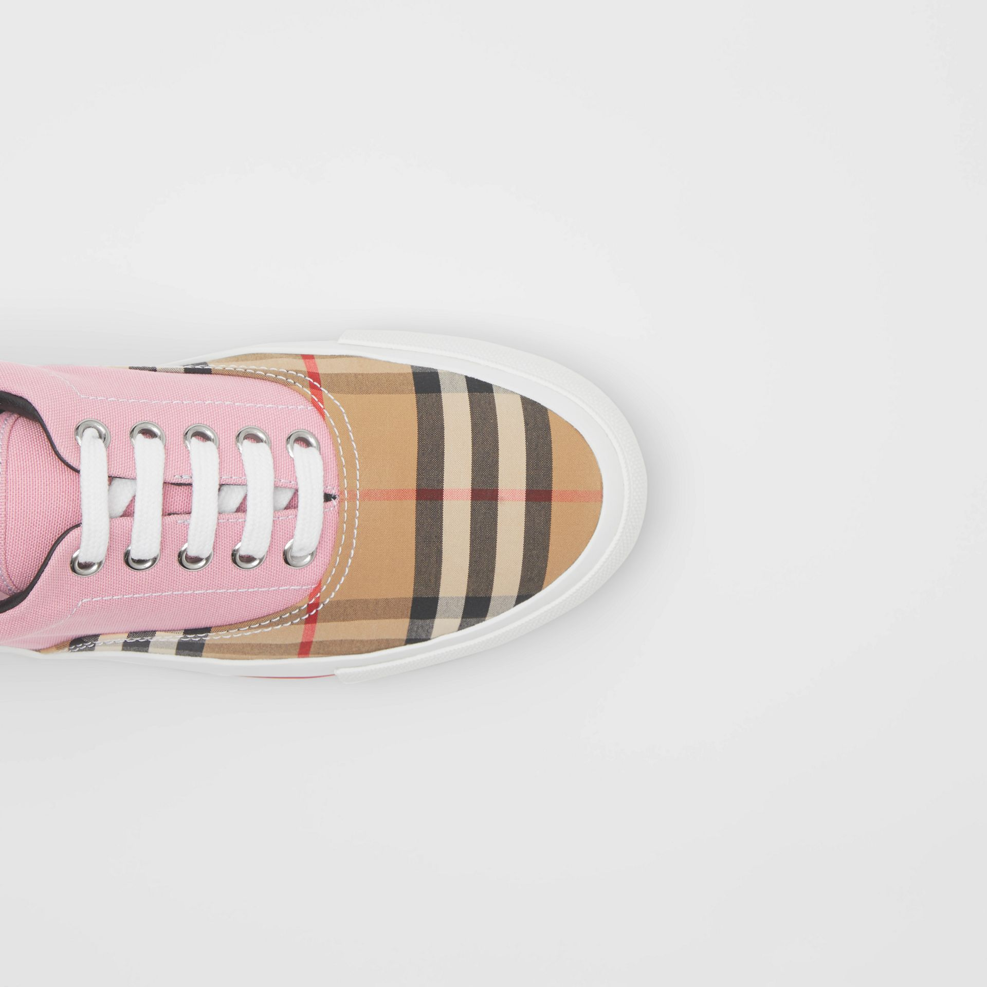 Vintage Check, Cotton Canvas and Suede Sneakers in Archive Beige/pink - Women | Burberry - gallery image 1