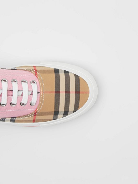 Vintage Check, Cotton Canvas and Suede Sneakers in Archive Beige/pink - Women | Burberry Hong Kong S.A.R - cell image 1