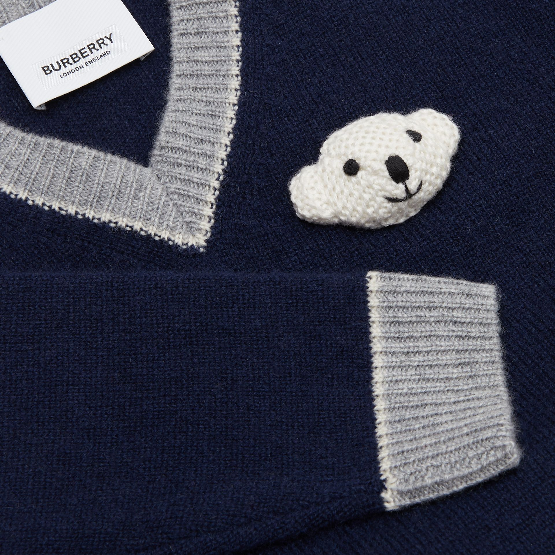 Thomas Bear Detail Wool Cashmere Sweater in Navy - Children | Burberry Canada - gallery image 1