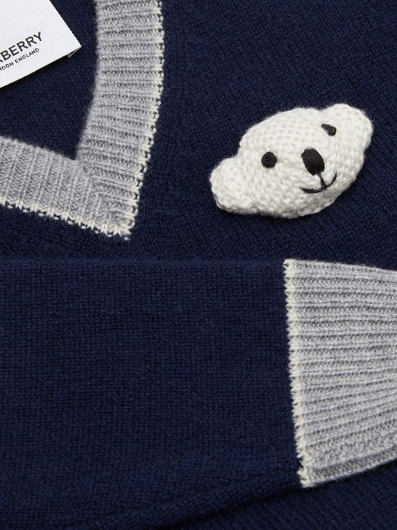 Thomas Bear Detail Wool Cashmere Sweater in Navy - Children | Burberry Canada - cell image 1