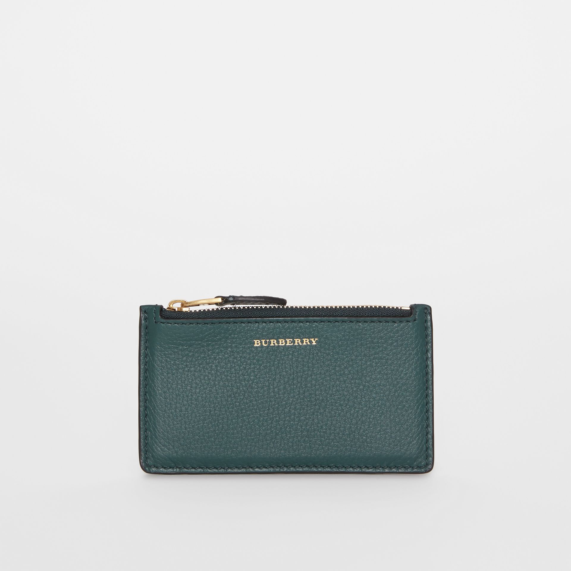 Two-tone Leather Zip Card Case in Dark Cyan | Burberry United Kingdom - gallery image 0