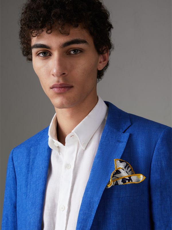 Daisy Print Silk Pocket Square in Navy - Men | Burberry Singapore - cell image 2