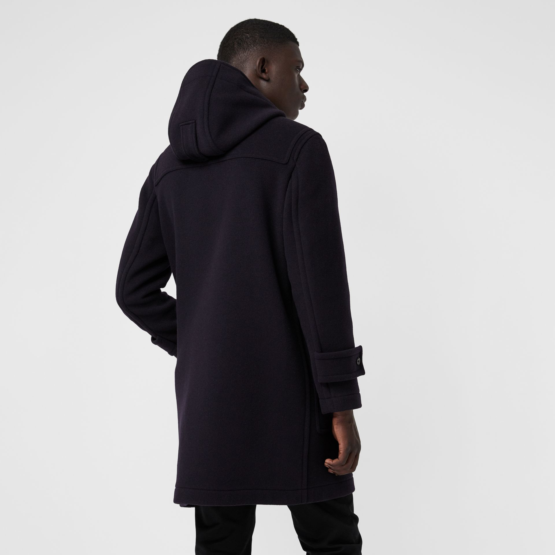Vintage Check Detail Wool Blend Hooded Duffle Coat in Navy - Men | Burberry Singapore - gallery image 2