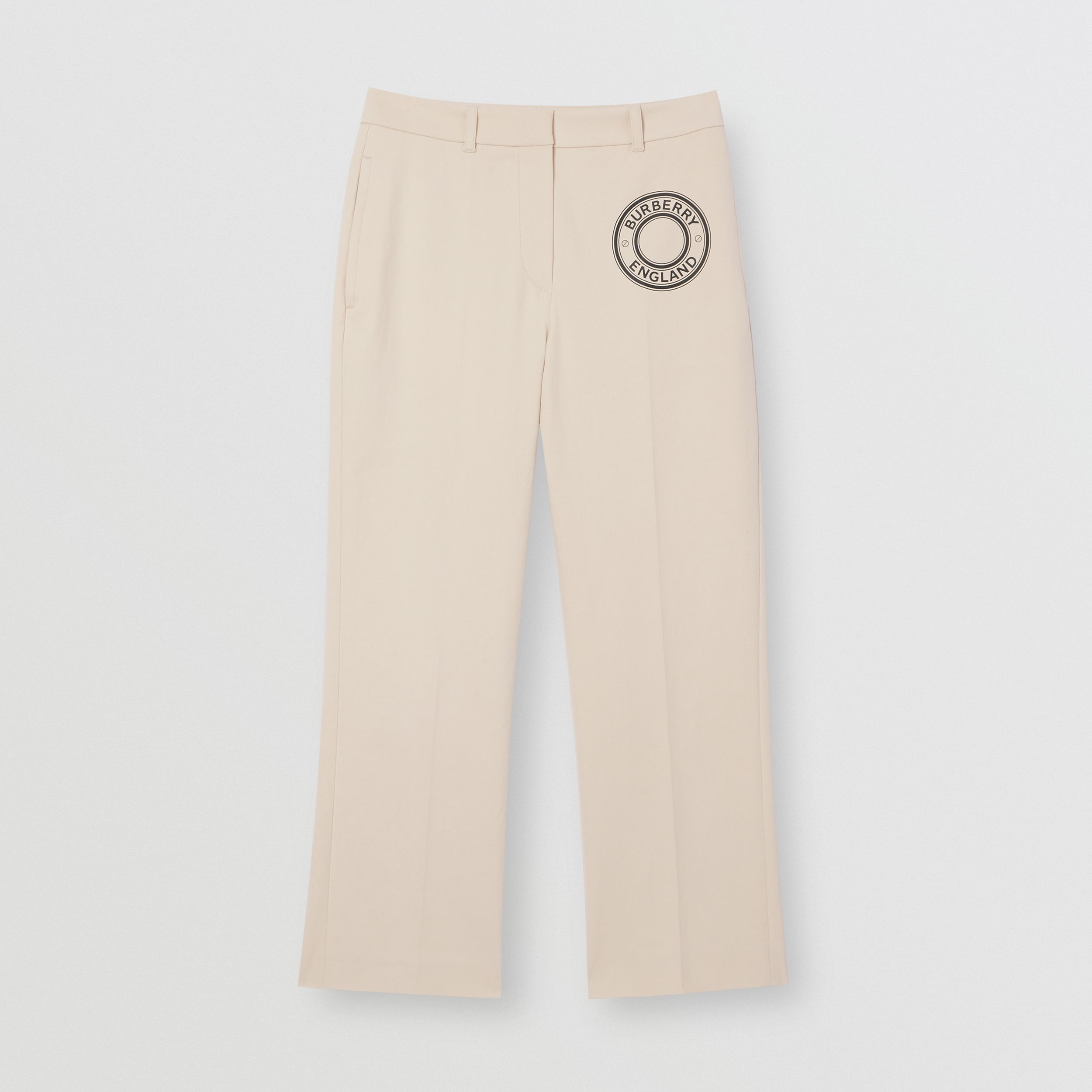 Logo Graphic Stretch Cotton Canvas Tailored Trousers in Pale Cream - Women | Burberry - 4
