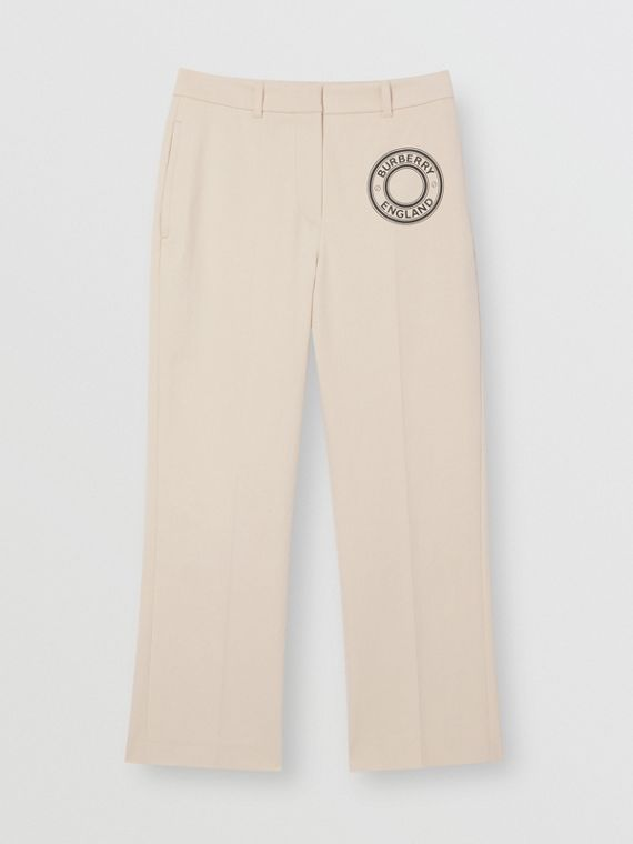 Logo Graphic Stretch Cotton Canvas Tailored Trousers in Pale Cream