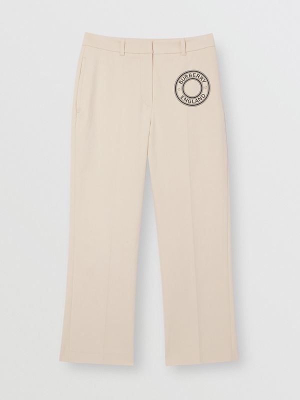 Logo Graphic Stretch Cotton Canvas Tailored Trousers in Pale Cream - Women | Burberry Hong Kong S.A.R - cell image 3