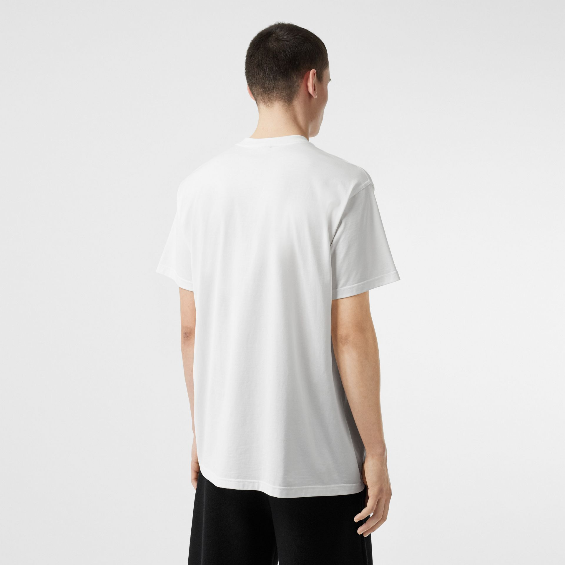 Union Jack Photo Print Cotton Oversized T-shirt in White - Men | Burberry - gallery image 2