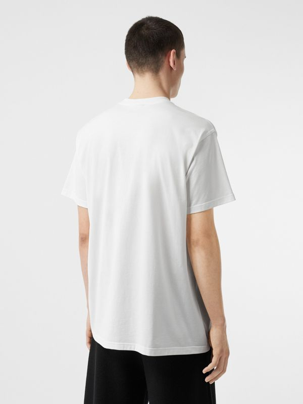 Union Jack Photo Print Cotton Oversized T-shirt in White - Men | Burberry - cell image 2
