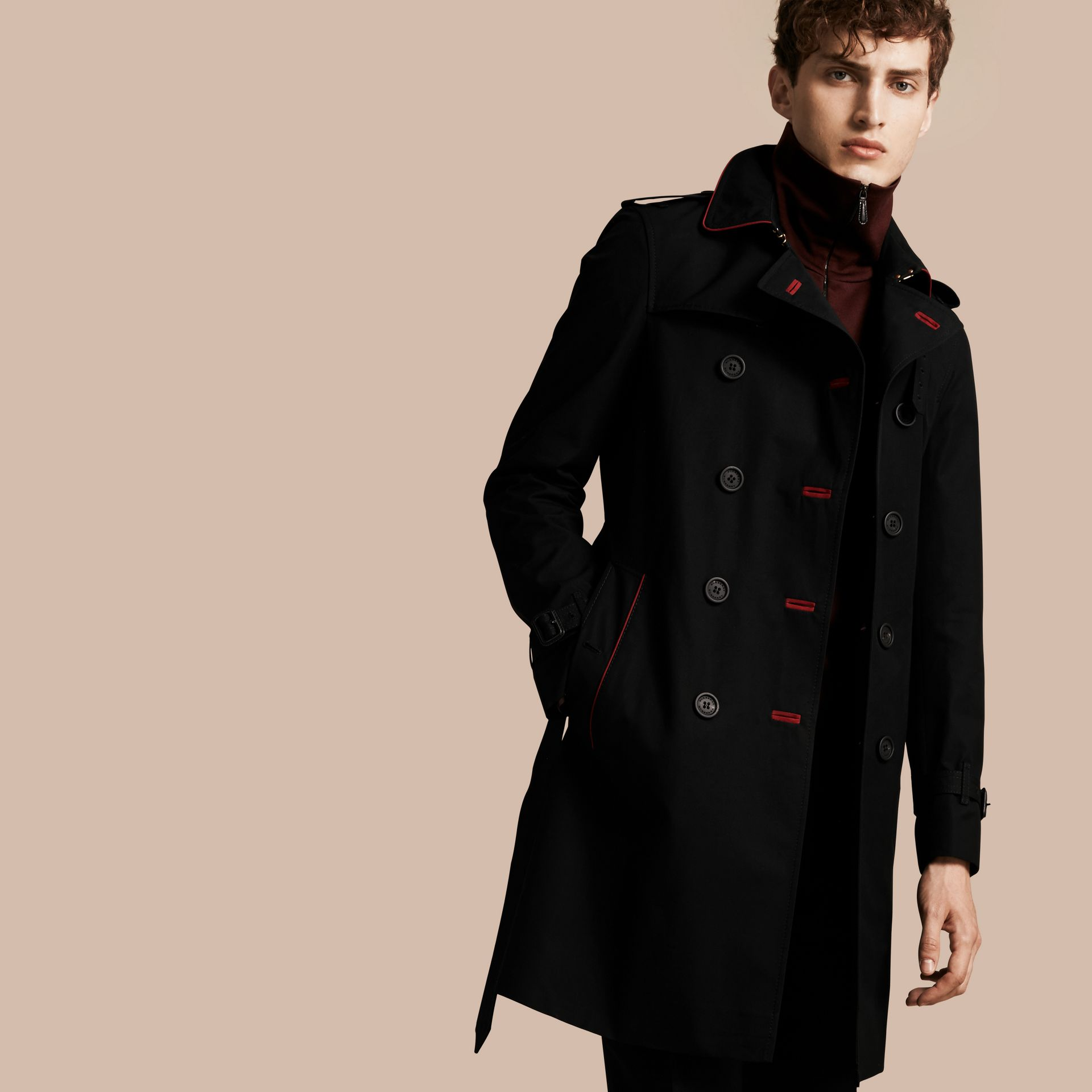 Black Military Detail Cotton Trench Coat - gallery image 1