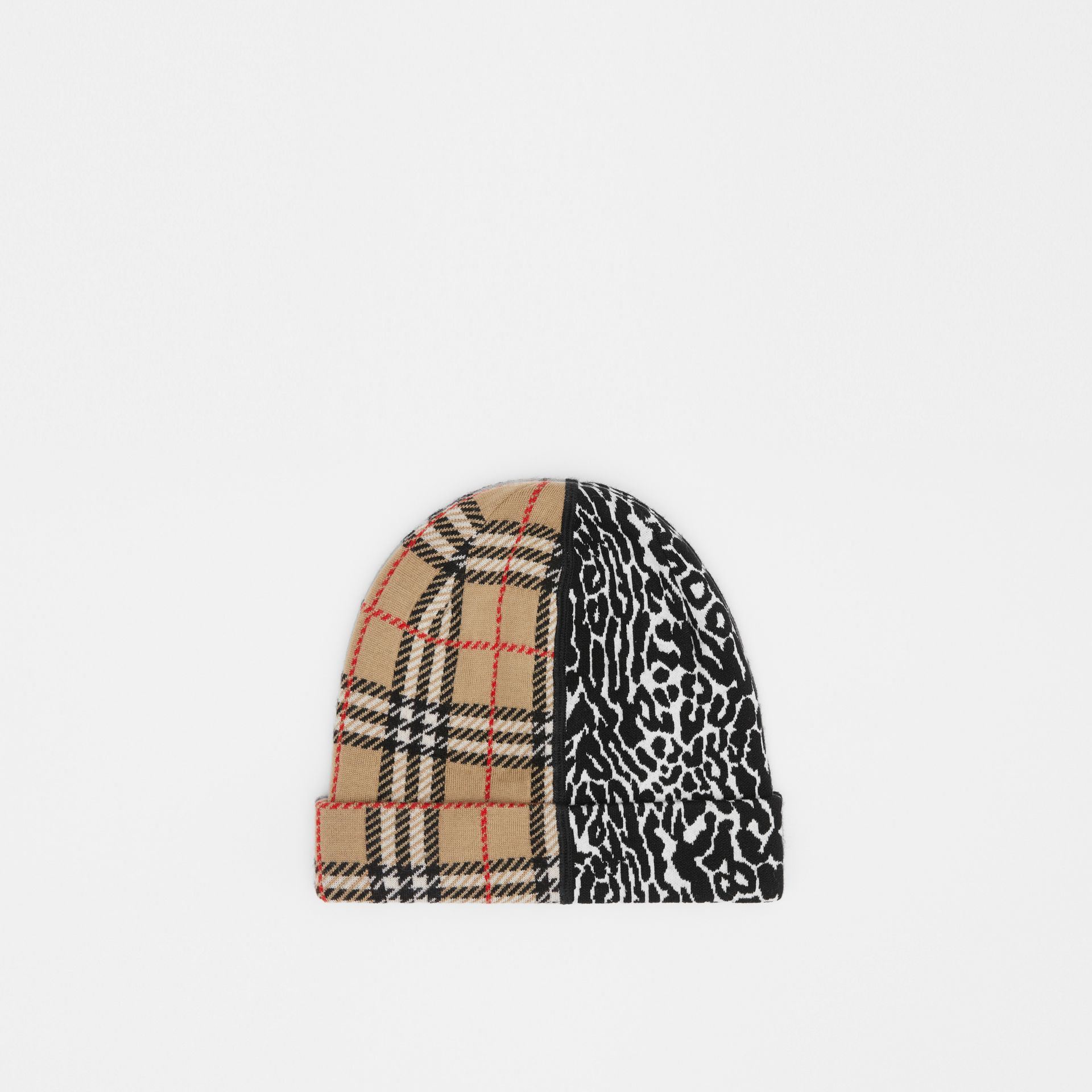 Check and Leopard Merino Wool Jacquard Beanie in Print - Children | Burberry United States - gallery image 2