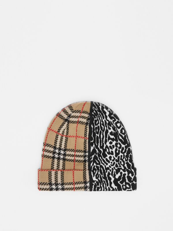 Check and Leopard Merino Wool Jacquard Beanie in Print - Children | Burberry United States - cell image 2