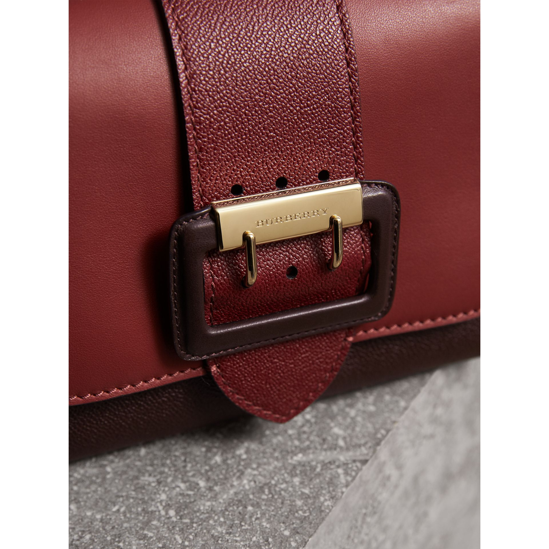 The Buckle Crossbody Bag in Colour-block Leather in Burgundy - Women | Burberry United States - gallery image 1