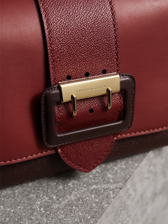 The Buckle Crossbody Bag in Colour-block Leather in Burgundy - Women | Burberry - cell image 1