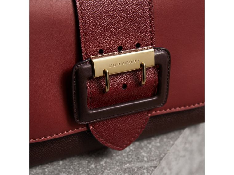 The Buckle Crossbody Bag in Colour-block Leather in Burgundy - Women | Burberry United States - cell image 1