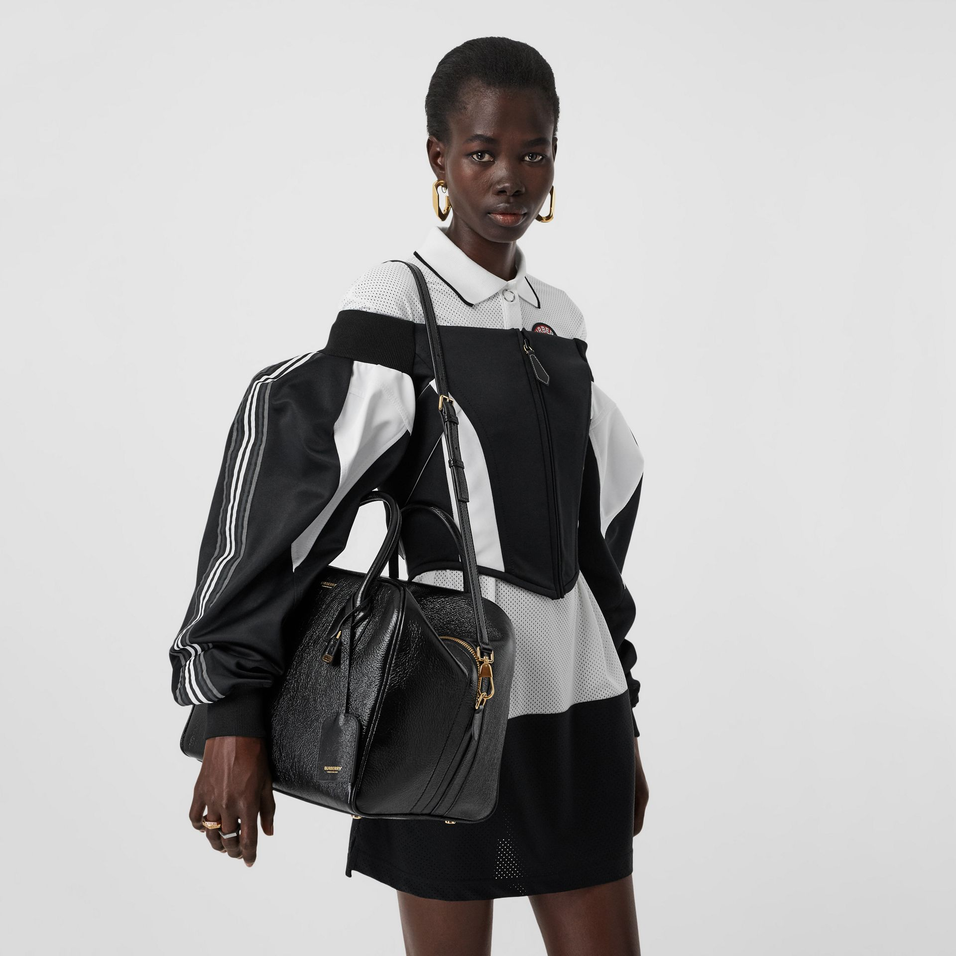 Medium Lambskin Cube Bag in Black - Women | Burberry Singapore - gallery image 2