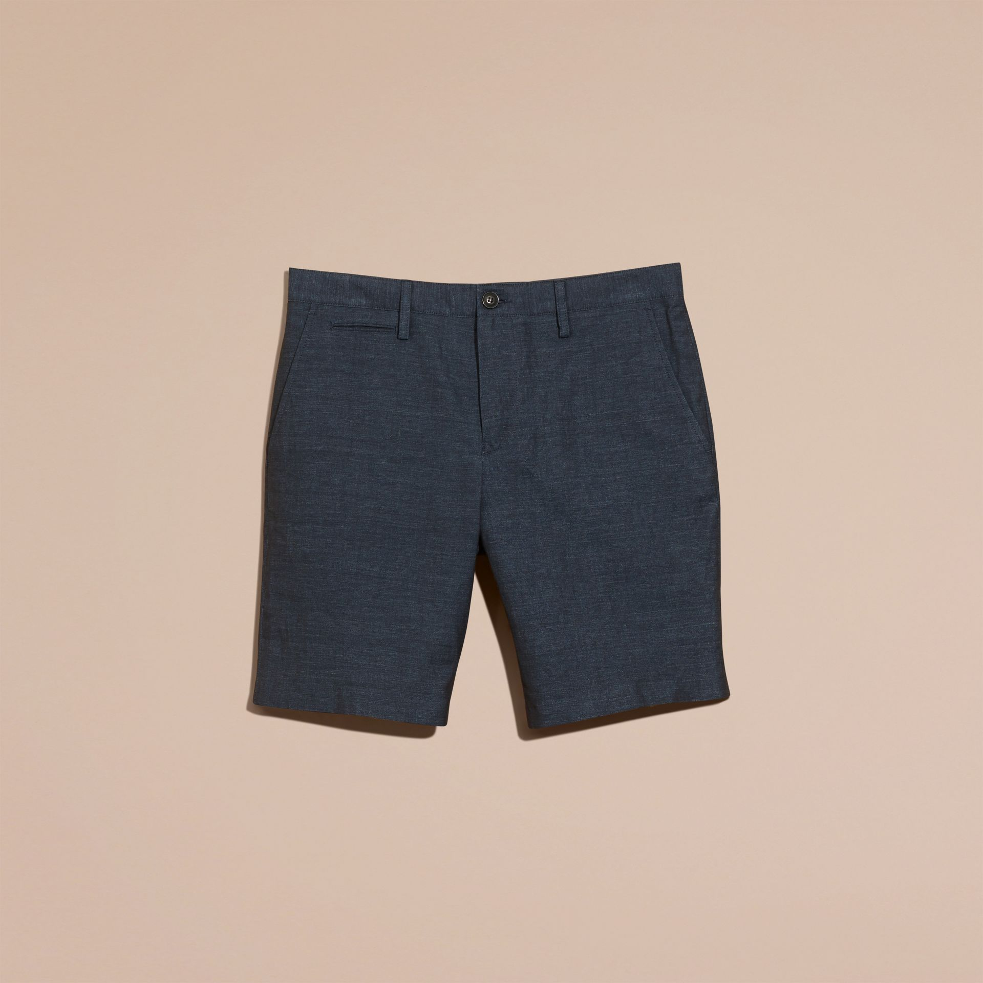 Navy Linen Cotton Tailored Shorts - gallery image 4