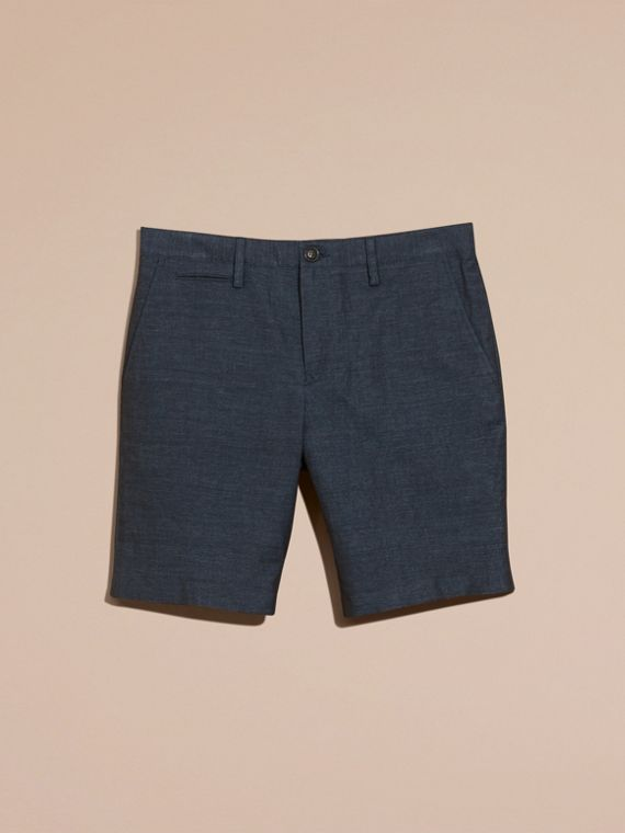 Navy Linen Cotton Tailored Shorts - cell image 3