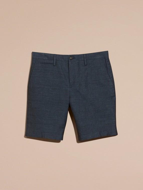 Navy Pantaloncini sartoriali in lino e cotone - cell image 3