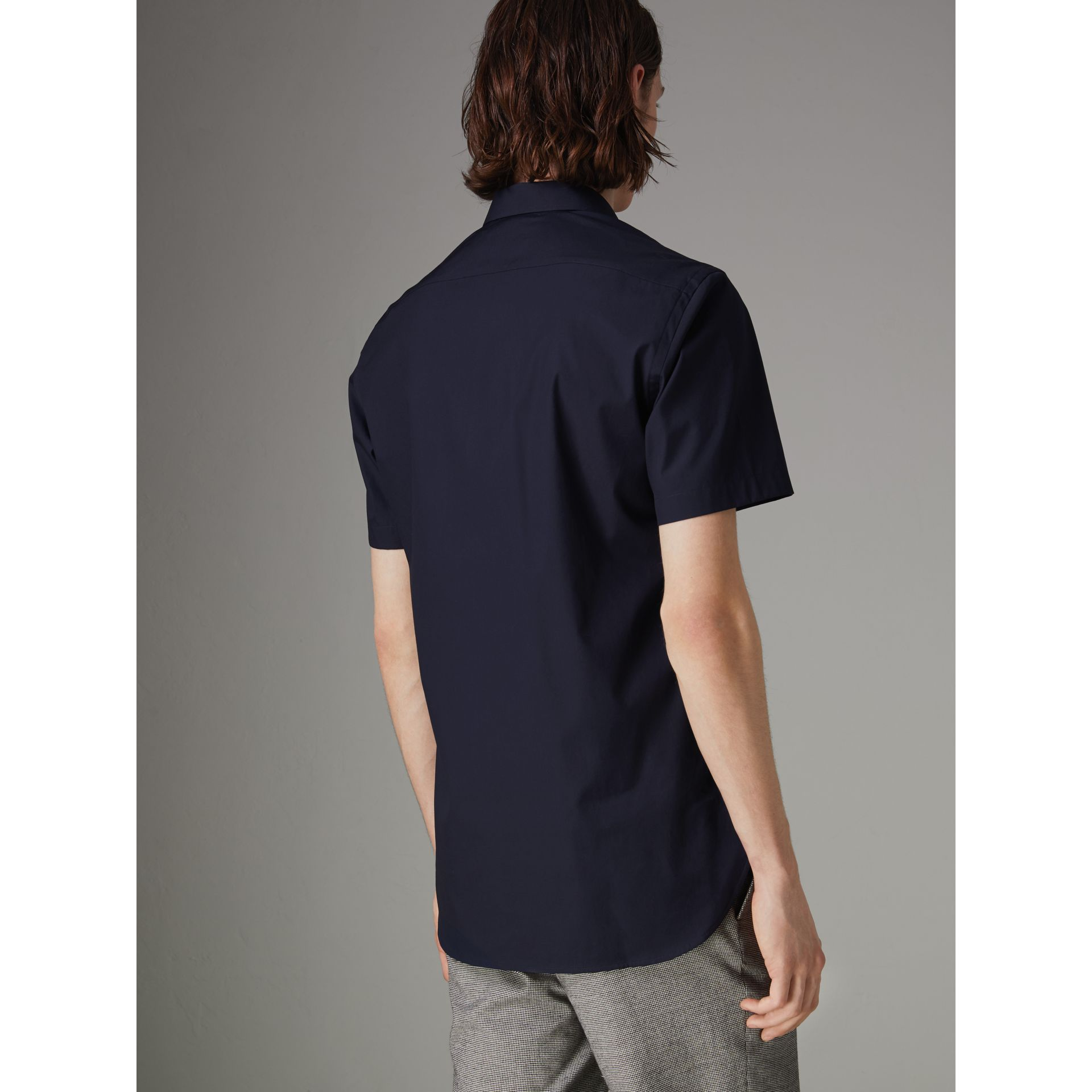 Short-sleeve Stretch Cotton Shirt in Navy - Men | Burberry Australia - gallery image 2