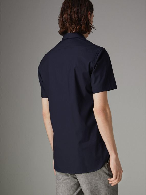 Short-sleeve Stretch Cotton Shirt in Navy - Men | Burberry Australia - cell image 2