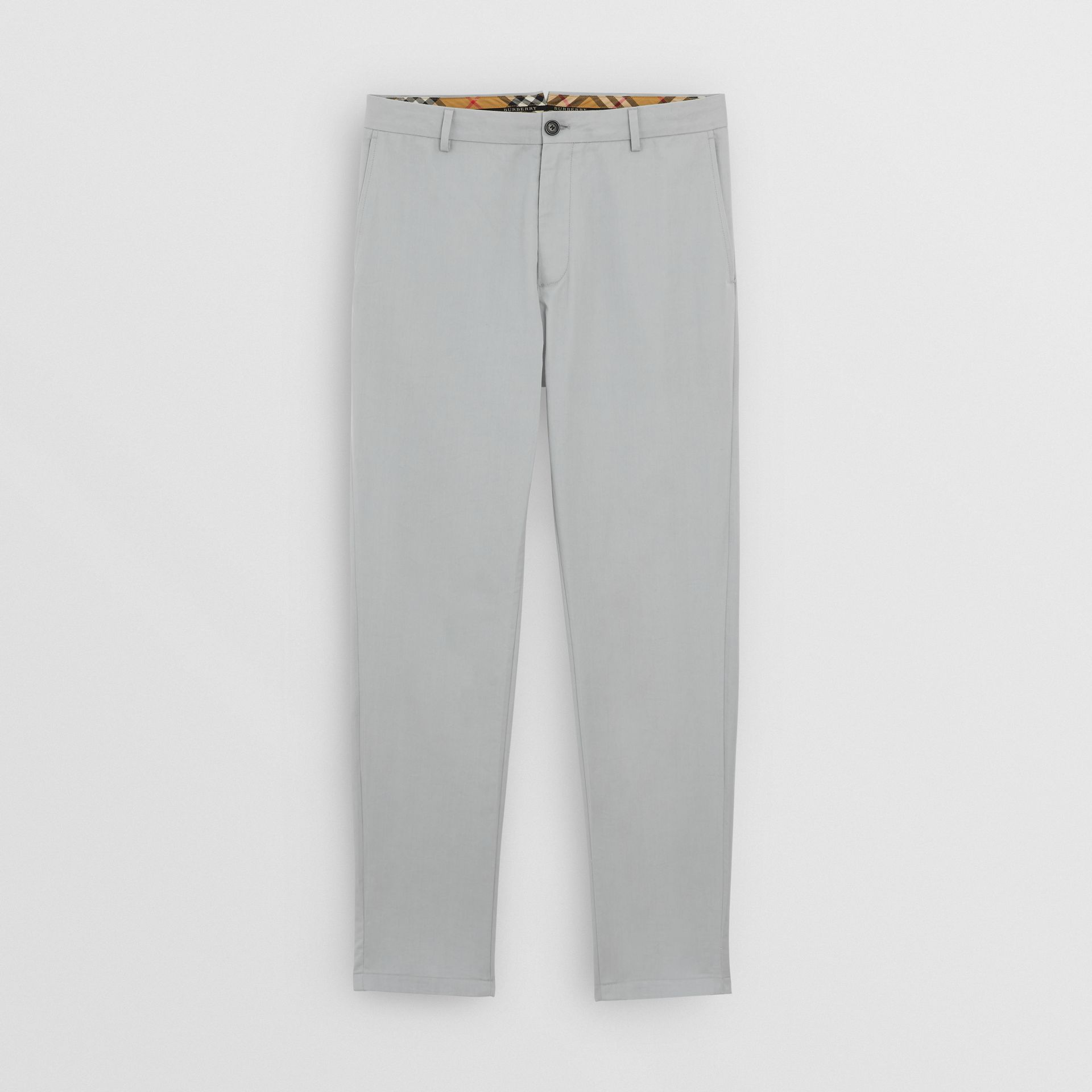 Slim Fit Cotton Chinos in Blue Grey - Men | Burberry United Kingdom - gallery image 3