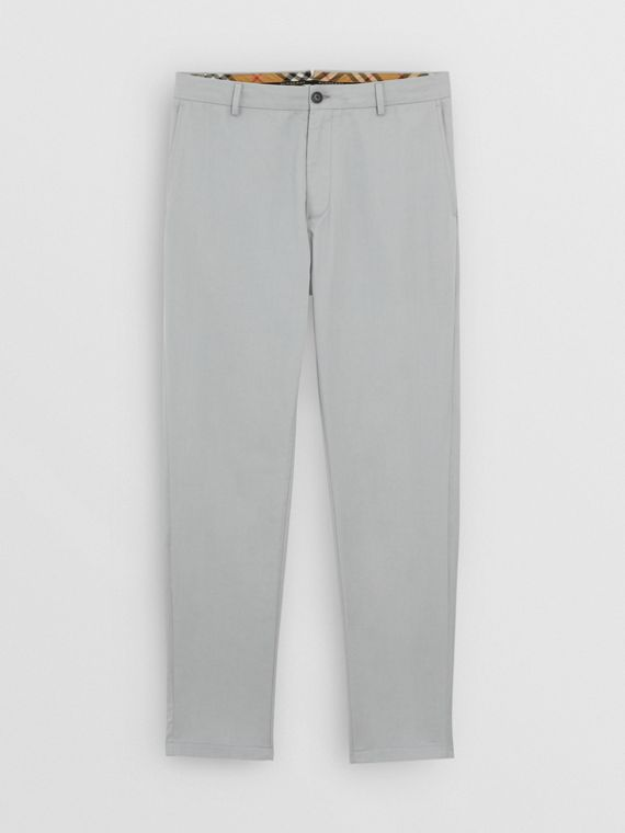 Slim Fit Cotton Chinos in Blue Grey