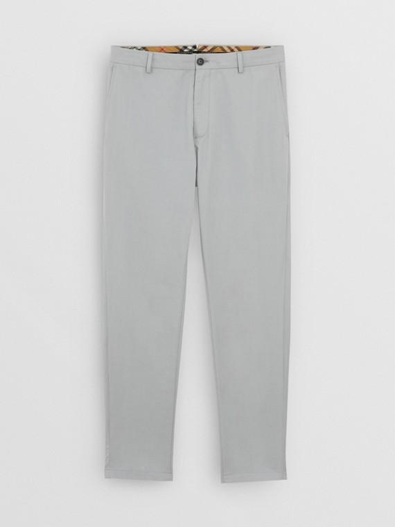 Pantalones chinos entallados en algodón (Gris Azulado)