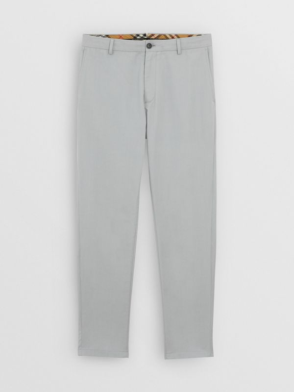 Slim Fit Cotton Chinos in Blue Grey - Men | Burberry - cell image 3