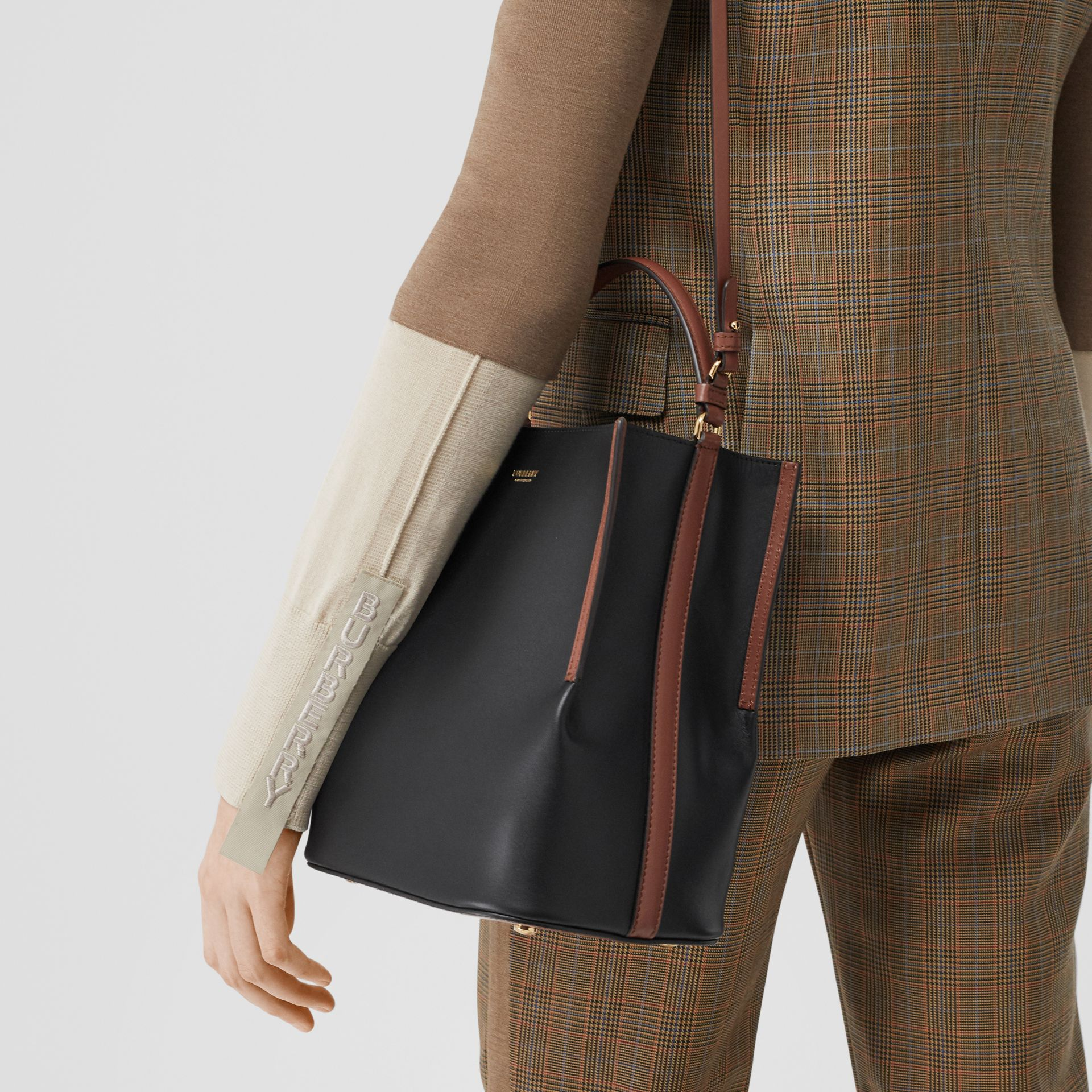 Small Two-tone Leather Peggy Bucket Bag in Black - Women | Burberry - gallery image 9