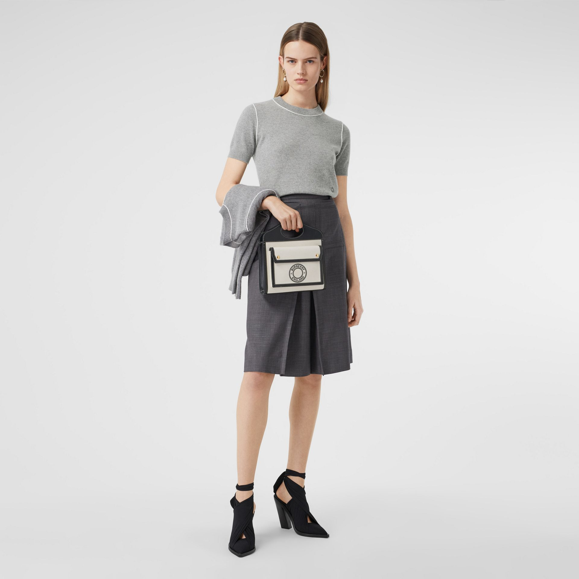 Short-sleeve Monogram Motif Cashmere Top in Grey Melange - Women | Burberry Australia - gallery image 0