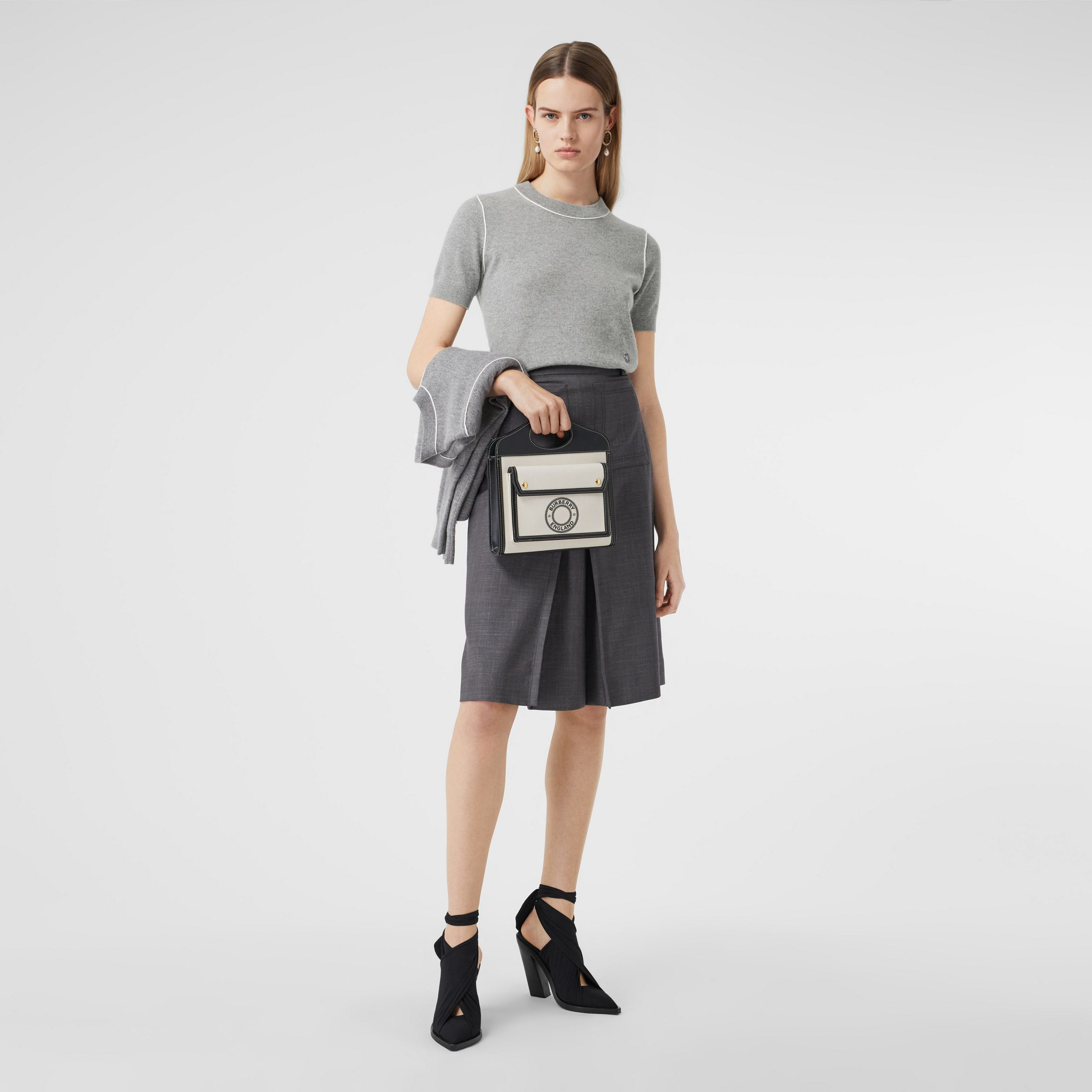 Short-sleeve Monogram Motif Cashmere Top in Grey Melange - Women | Burberry United Kingdom - 1