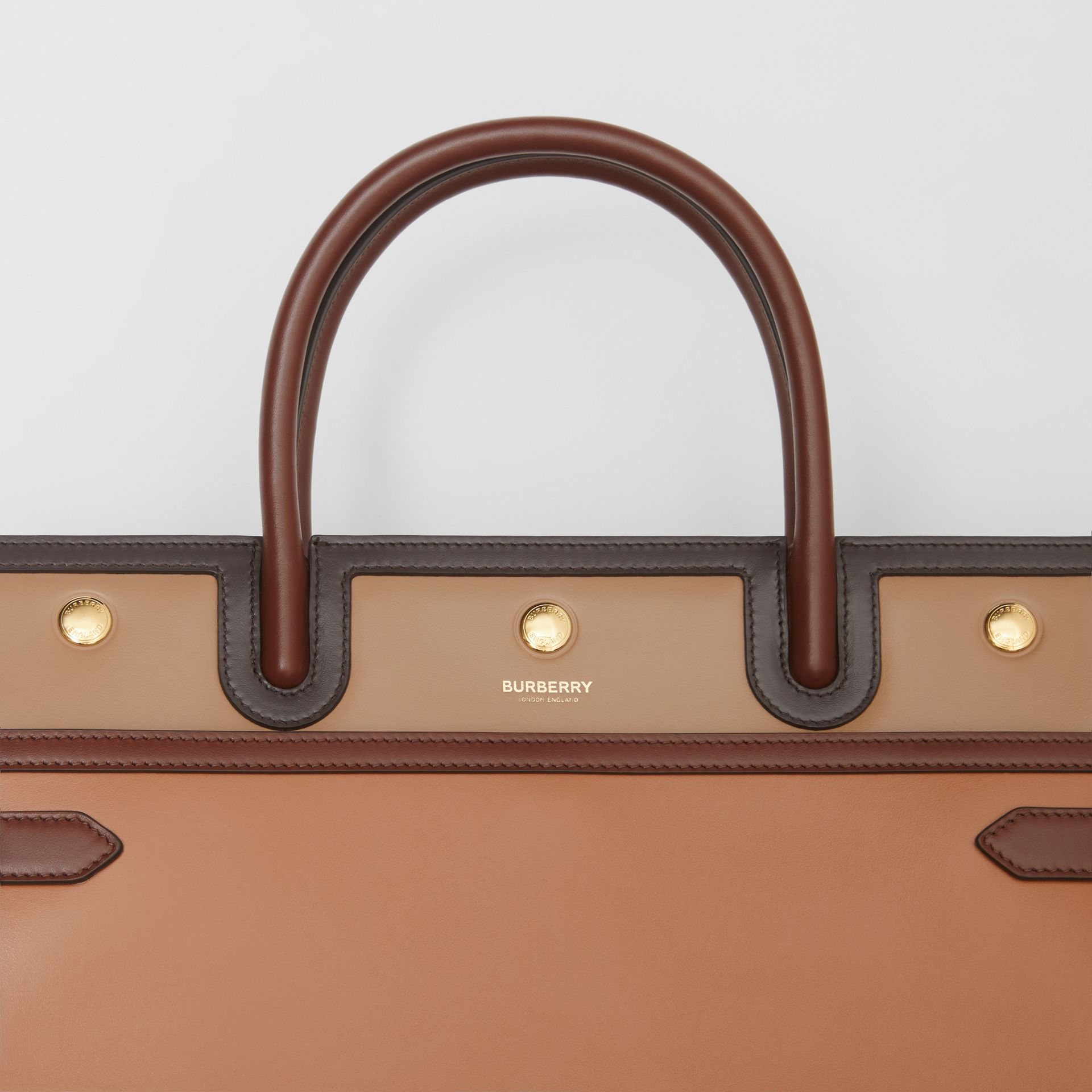 Medium Colour Block Leather Two-handle Title Bag in Soft Fawn - Women | Burberry United States - gallery image 1